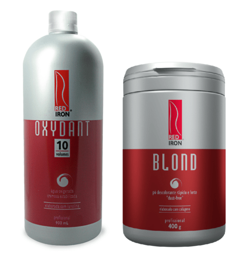 Kit Red Iron Blond Pó Descolorante Forte 400g + Red Iron Ox 10 Vol. 900ml
