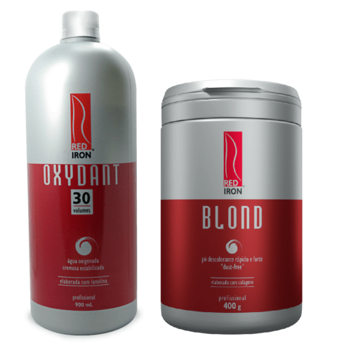 Kit Red Iron Blond Pó Descolorante Forte 400g + Red Iron Ox 30 Vol. 900ml