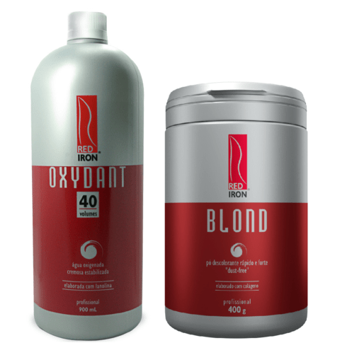 Kit Red Iron Blond Pó Descolorante Forte 400g + Red Iron Ox 40 Vol. 900ml