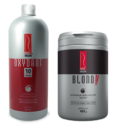 Kit Red Iron Pó Descolorante Extra Forte Blond Extreme 400g +  Red Iron Ox 10 Vol. 900ml