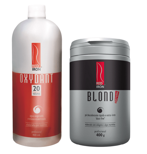Kit Red Iron Pó Descolorante Extra Forte Blond Extreme 400g + Red Iron Ox 20 Vol. 900ml