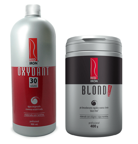 Kit Red Iron Pó Descolorante Extra Forte Blond Extreme 400g +  Red Iron Ox 30 Vol. 900ml