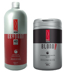 Kit Red Iron Pó Descolorante Extra Forte Blond Extreme 400g +  Red Iron Ox 40 Vol. 900ml