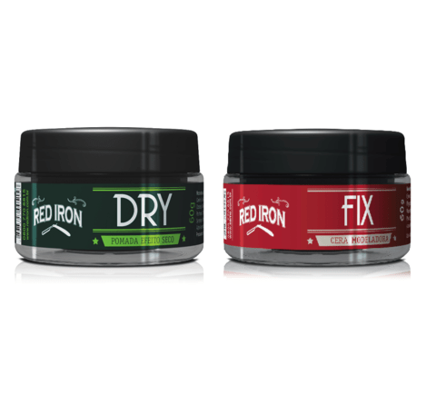 Kit Red Iron Red Fix Wax Cera Modeladora 60g + Pomada Modeladora Red Dry 60g