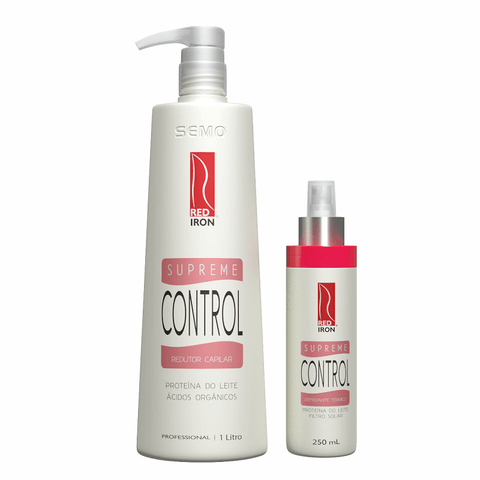 Kit Red Iron Supreme Control Redutor Capilar 1000ml + Defrizante Térmico 250ml