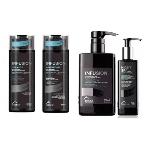 Kit Truss Infusion Shampoo + Condicionador 2x 300ml + Infusion 650ml + Night Spa 250ml (4 Produtos)