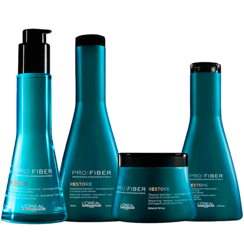 Kit Loreal Pro Fiber Restore Shampoo 250ml + Condicionador 200ml + Máscara 200ml + Leave In 125ml