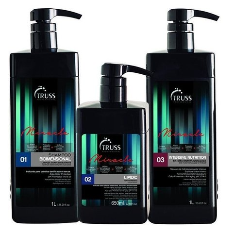 Truss Shampoo Bidimensional 1 Lt + Truss Lipidic Lipo-Nutrientes 650ml + Intensive Nutritive 1000ml