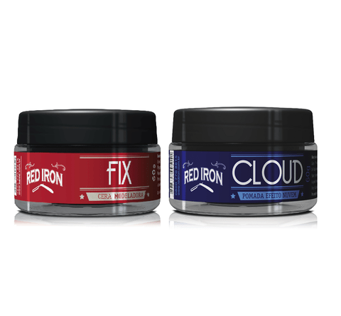 Kit Red Iron Pomada Cloud Efeito Nuvem 60g + Red Iron Red Fix Cera Modeladora 60g