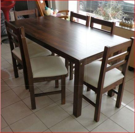 Mesa y sillas madera lustrada comprar en tylo muebles - Mesas y sillas de cocina de madera ...