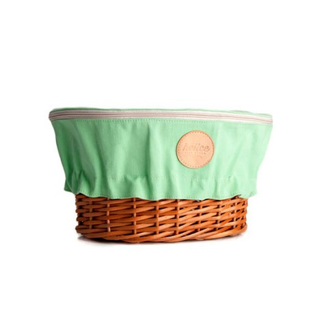 WICKER BASKET WITH COVER | GREEN