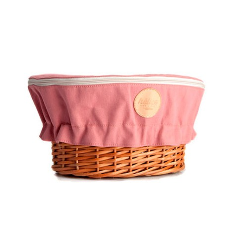 WICKER BASKET WITH COVER | Mauve pink