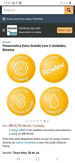 Preservativo Blowtex Hot na internet