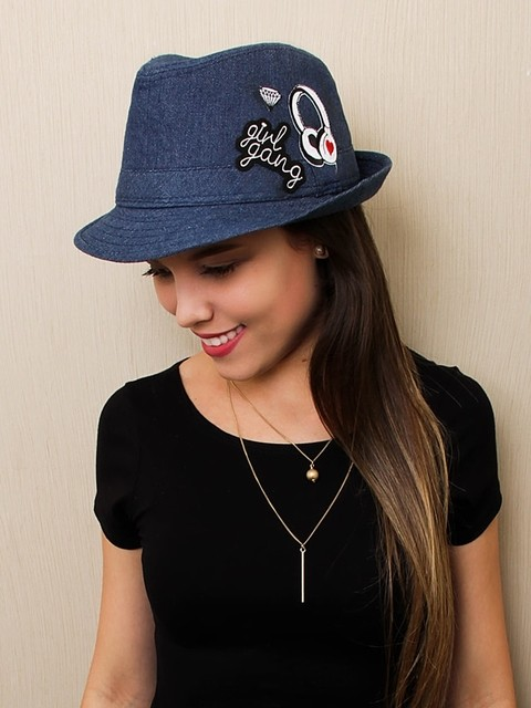 Chapéu Fedora Jeans Patches