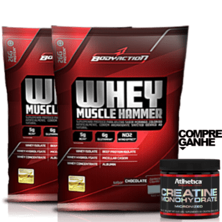 2 WHEY MUSCLE HAMMER 1,8KG (BODY ACTION) + GANHE CREATINA 120G (ATLHETICA NUTRITION)