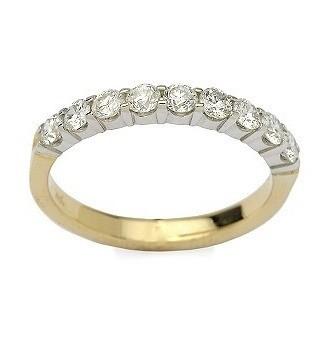 95e42ca0ae7c3 Meia aliança em ouro Amarelo e branco 18K e diamantes (0,45cts). Código   18Kmeiaalianca13