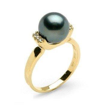 9358043ae Anel em Ouro Amarelo 18k, Perola Negra e diamantes (0,06cts). Código:  18Kperola11