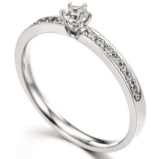 Anel Solitário, em Ouro branco 18K com Diamantes (21pts). Código   18Ksolitario29 c0c8bac112
