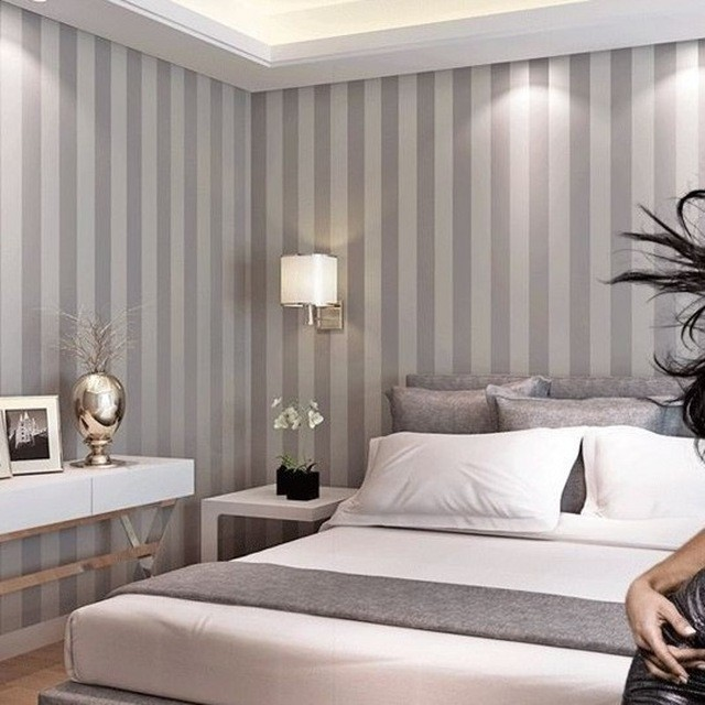 Papel de parede listras cinza e branco vertical - Minimalistisch dekorieren ...