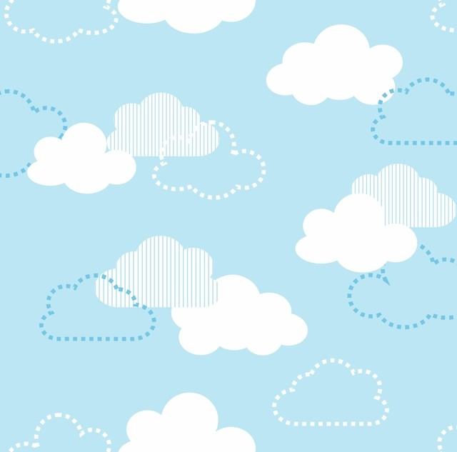 Papel de parede infantil com estampa de nuvens arte e cores - Papel para pared infantil ...
