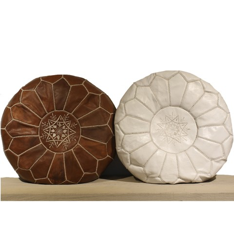 Pouf Marroquí Color Suela, Blanco y Marrón Oscuro