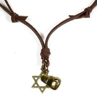 Colar cordão em Couro com pingente símbolo estrela de Davi + Luva Box.