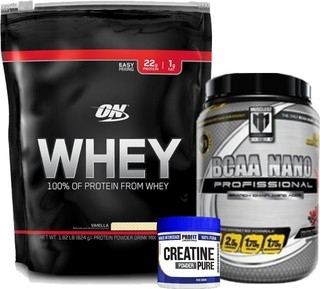 Combo hipertrofia muscular: 100% Whey Protein Optimum Nutrition + BCAA em pó Muscled2 + Creatina Profit