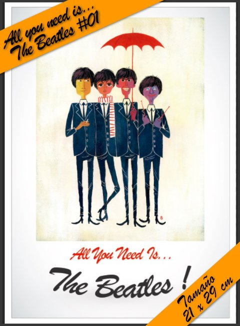 All You Need is Beatles #02! - Lamina Autoadhesiva 21 x 29 cm - Precio 2 x 1 !