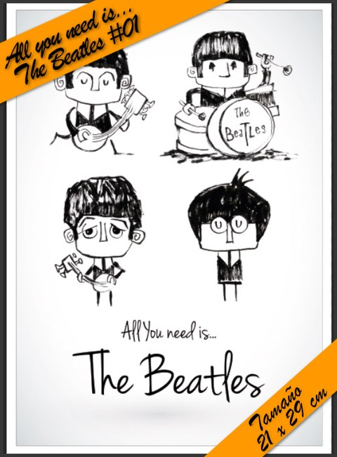 All You Need is Beatles #06! - Lamina Autoadhesiva 21 x 29 cm - Precio 2 x 1 !