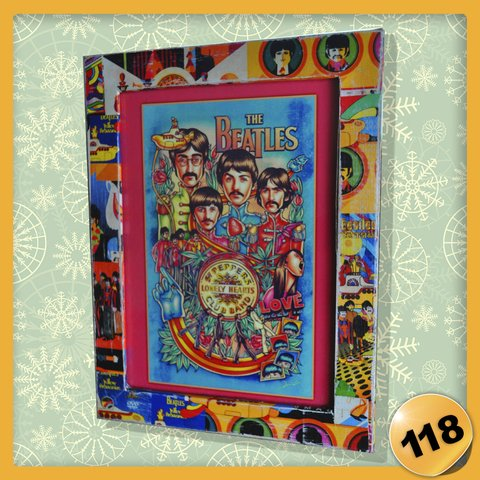 118 - Cuadrito 13 x 18 cm - The Beatles c/ Marco Decoupage Vintage.