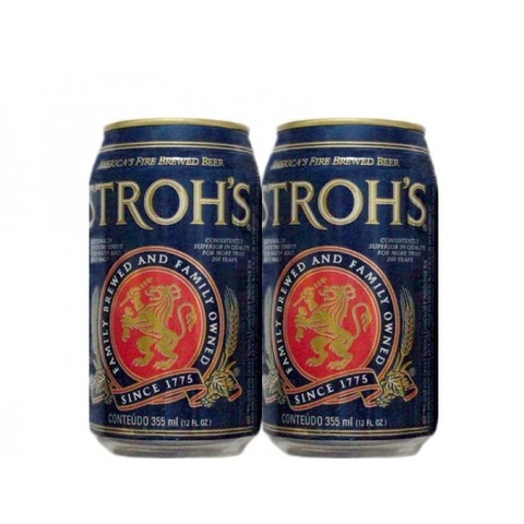 LATA STROH'S BEER 355 ML ALUMINIO USA EXPORT