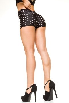Short Tiro Alto Drapeado en la cola Efecto push Up-Estampado a lunares-Estilo Pin UP - Exentrica