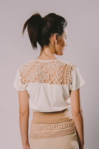 FEMALE T-SHIRT IN FILET LACE - buy online