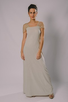 NET FISHING SLEEVE LONG DRESS