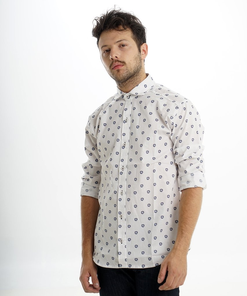 Camisa cell Blanco AZUL  CHICO
