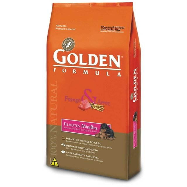 RAÇÃO GOLDEN FRANGO/ARROZ ADULTO MINI BITS 3kg