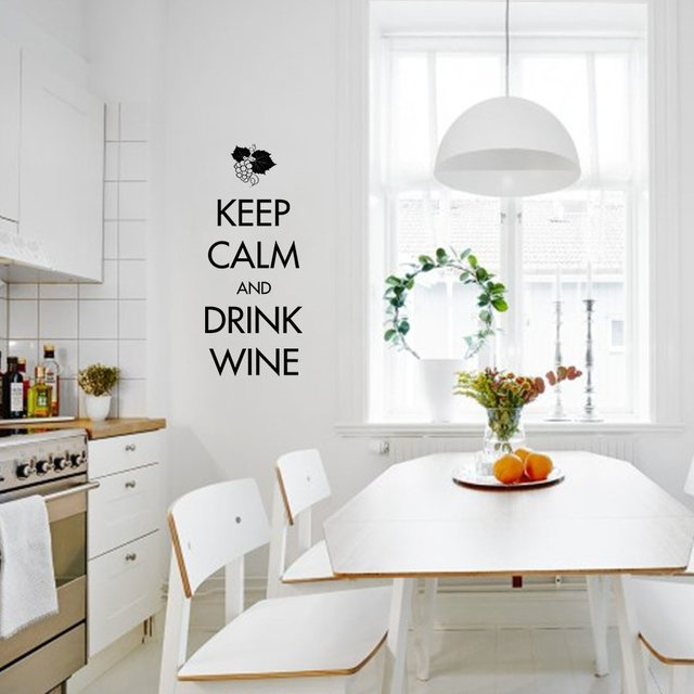 KEEP CALM AND DRINK WINE - VINILO PARED