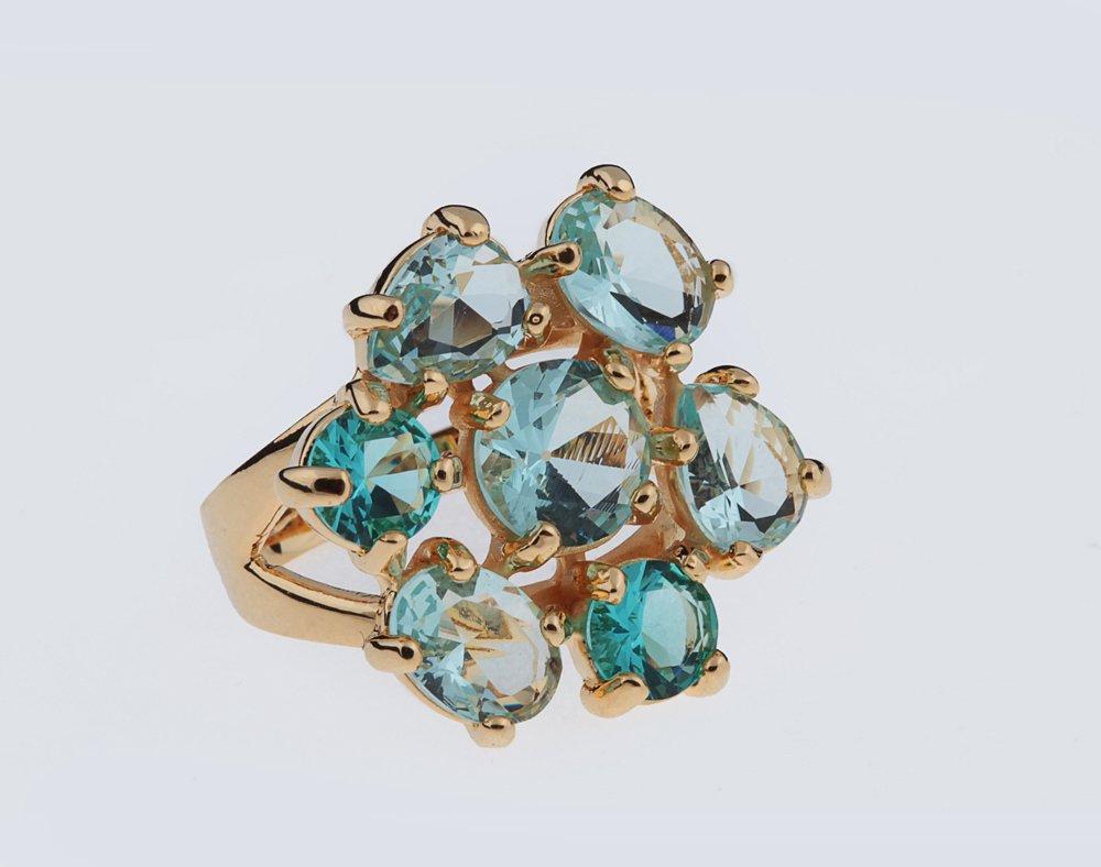Anel Cristal Azul 7 Pedras