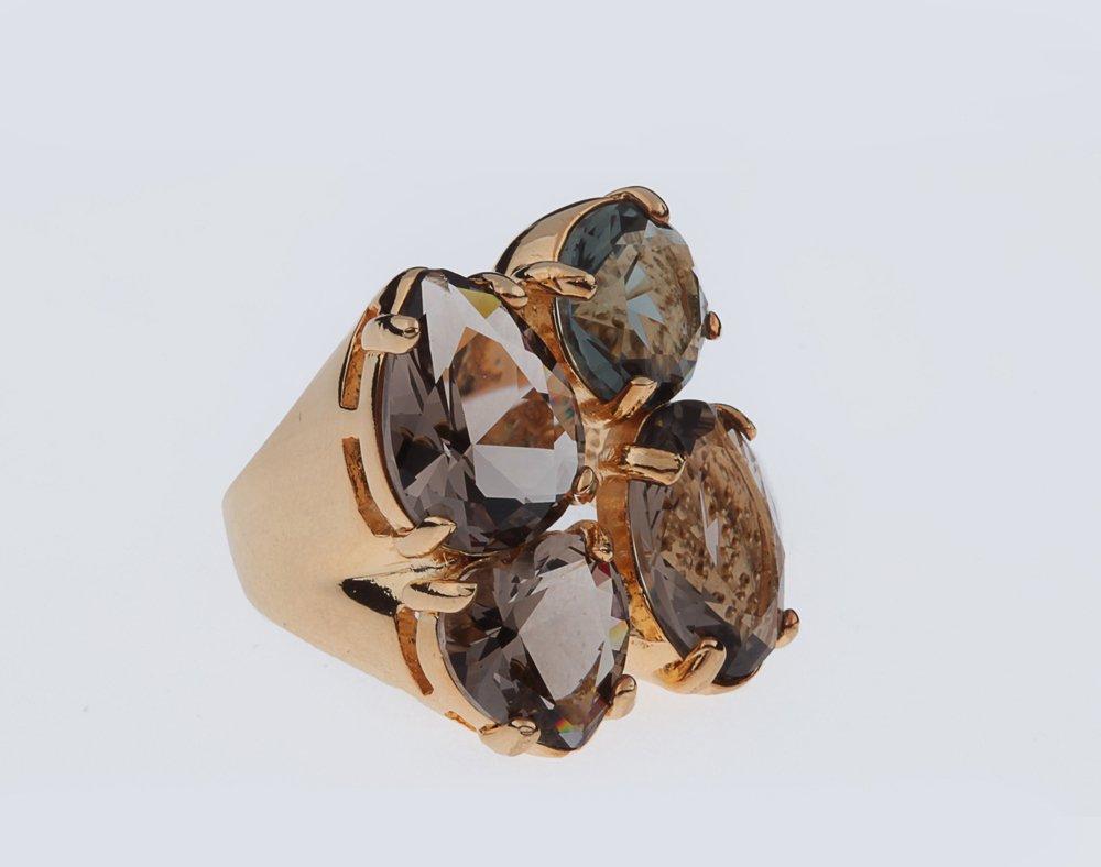 Anel Cristal Fumê 4 Pedras