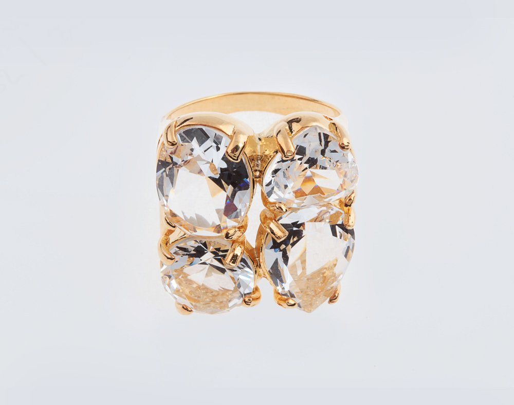 Anel Cristal 4 Pedras