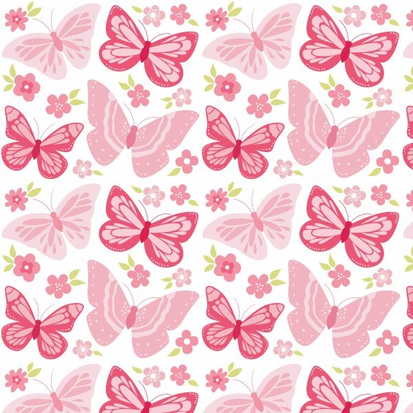 Papel de parede infantil borboletas rosa for Papel decomural infantil