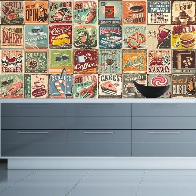 Adesivo azulejos cozinha vintage - Azulejos vintage ...