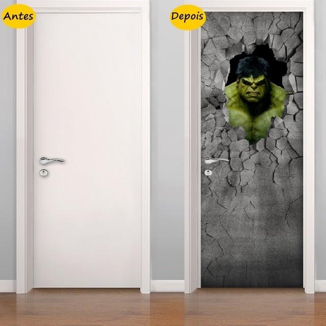 Adesivo De Quarto Infantil ~ Adesivo de Porta Hulk 3D
