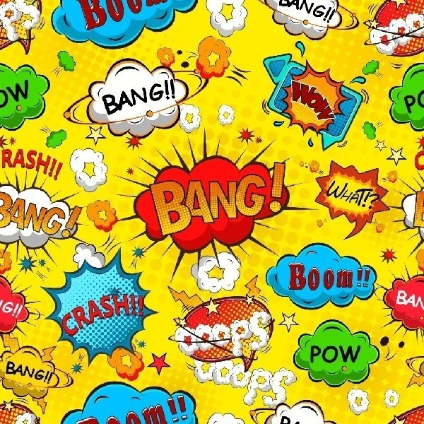 Papel de parede adesivo comic speech amarelo - Papel pared comic ...