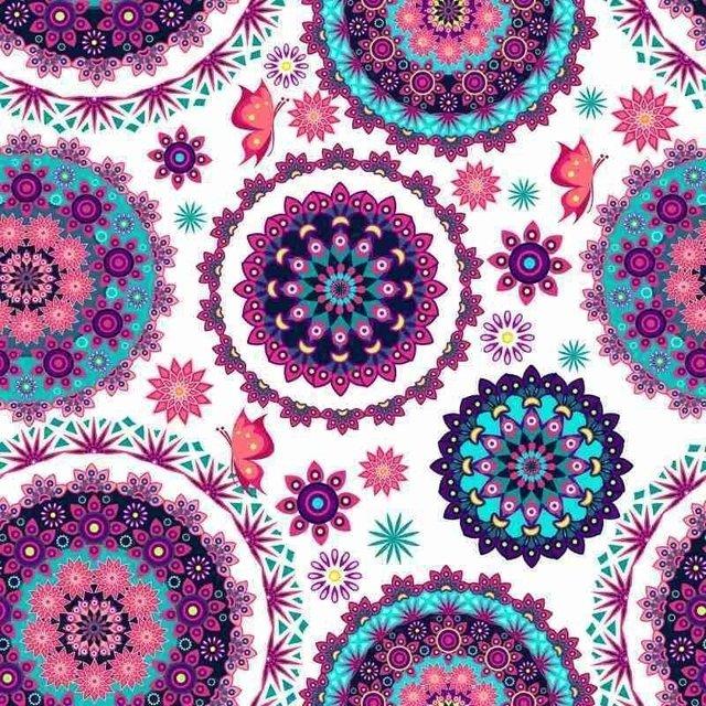 Artesanato Açoriano Florianopolis ~ Papel de Parede Adesivo Floral Mandala