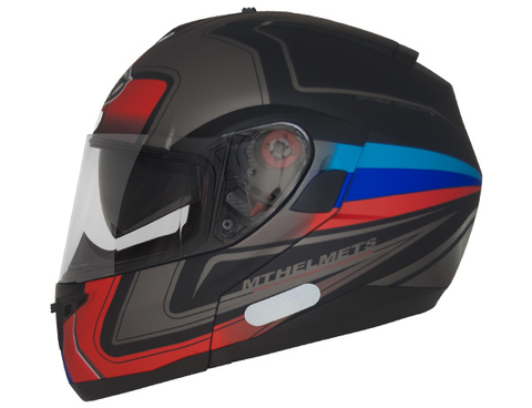 CAPACETE MT OPTIMUS SV TRICOLORE MATT BLACK BLUE/RED