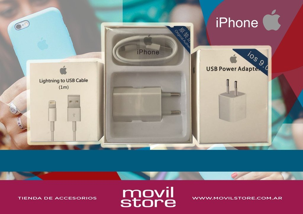 iPhone. Cable USB, Cargador, Adaptador.