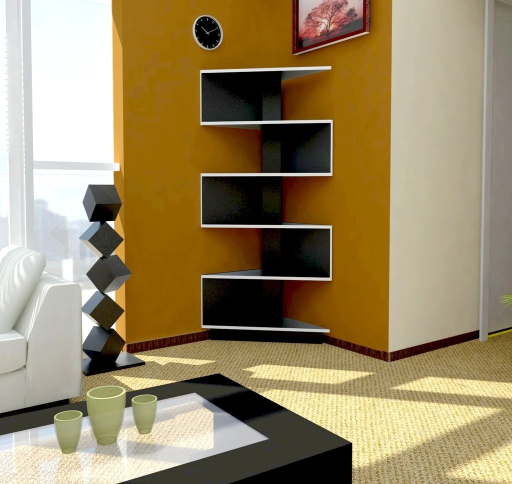 Modular rack esquinero moderno dise o minimalista unico for Esquineros para paredes