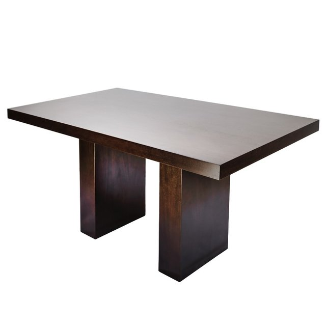 Mesa de comedor de madera modelo 2 bases rectas fija 1.40m