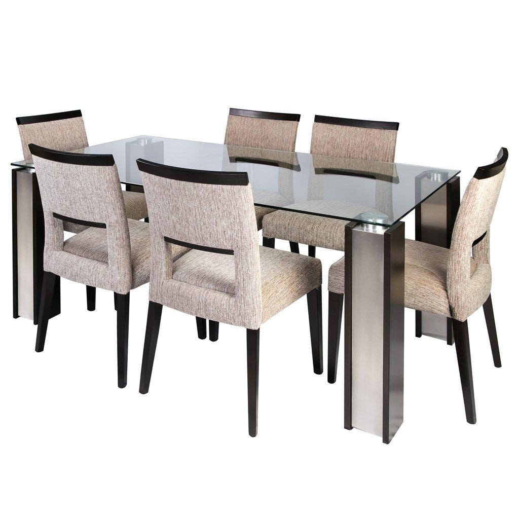 Mesa de vidrio 10mm madera y acero for Mesas de comedor cristal y madera